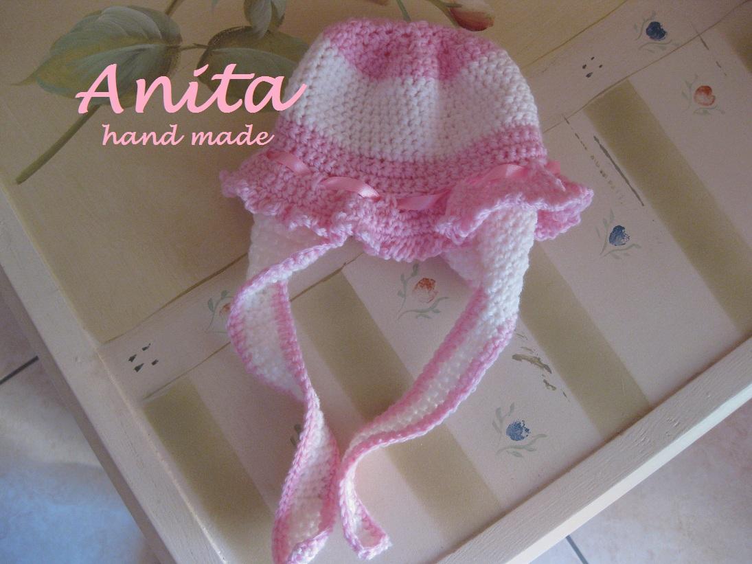 Cappellino Rosa Bimba Uncinetto Naturalmente Donna